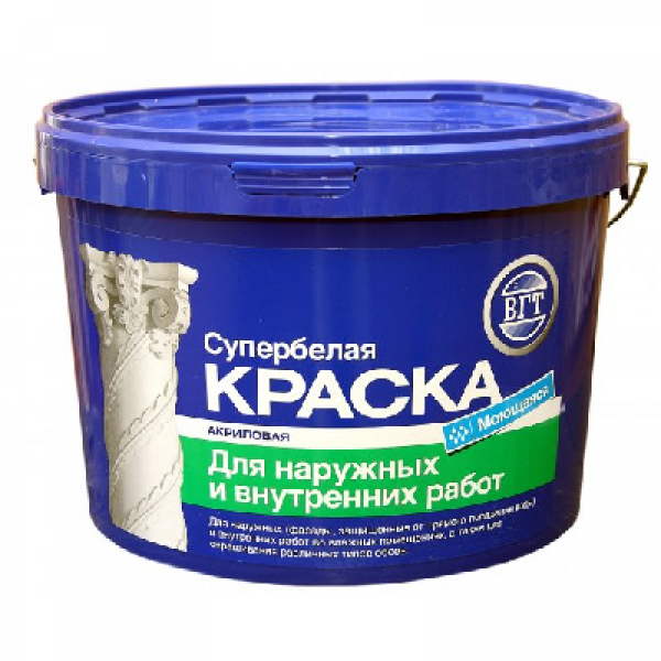Краска акриловая моющаяся для внутренних и наружных работ супербелая 15кг (ВД-АК-1180) VGT