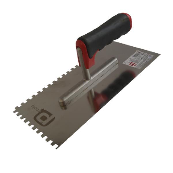 Кельма 130х270мм, зуб 4х4мм из нержавеющей стали, зубчатая, двухкомп. ручка PQ1401024