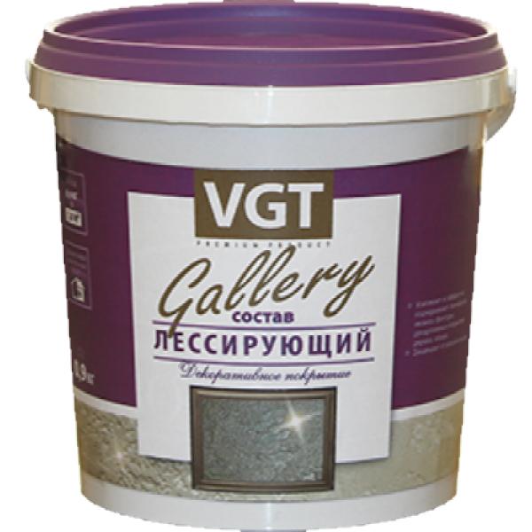 """Состав лессирующий """"Gallery"""" полупрозрачный бесцветный 0,9 кг VGT (в упаковке 6 шт)"""