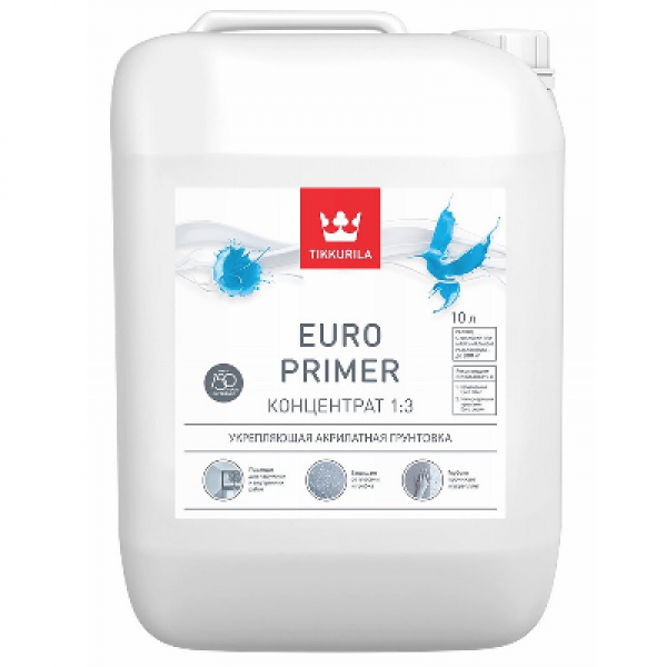 Грунтовка укрепляющая концентрат EURO PRIMER 10л TIKKURILA