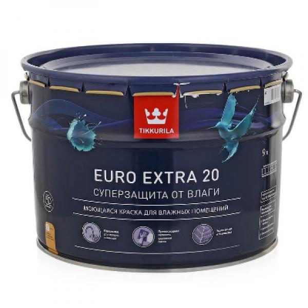 Краска в/д EURO EXTRA 20 полуматовая А 9л TIKKURILA