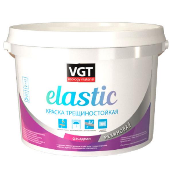 Краска трещиностойкая резиновая elastic белая 3кг VGT