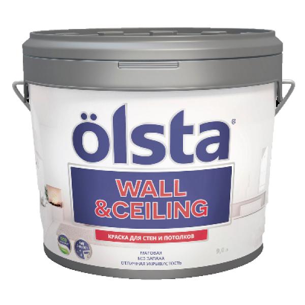 Краска для стен и потолков Wall&ceiling база А 9л OLSTA OWCA-90