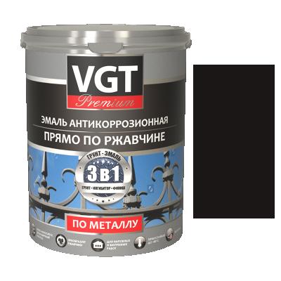Грунт-эмаль по ржавчине 3в1 тёмно-коричневая 1кг (ВД-АК-1179) VGT(в коробке 6шт)