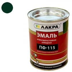 Эмаль ПФ-115 темно-зеленая 1кг ЛАКРА(в упаковке 14шт)