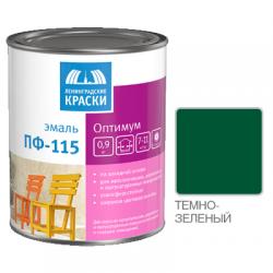 """Эмаль ПФ-115 """"ОПТИМУМ"""" темно-зеленая 0,9кг Лен. краски"""