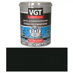 Грунт-эмаль по ржавчине 3в1 черная 1кг (ВД-АК-1179) VGT(в коробке 6шт)