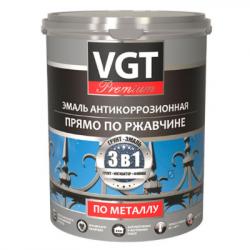 Грунт-эмаль по ржавчине 3в1 белая 1кг (ВД-АК-1179) VGT(в коробке 6шт)